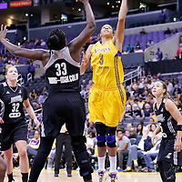 25 May 2014: Los Angeles Sparks forward/center Candace Parker (3) goes for the layup over San Antonio Stars forward Sophia Young-Malcolm (33) during the Los Angeles Sparks 83-62 victory over the San Antonio Stars, at the Staples Center, Los Angeles, California, USA.