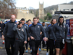 Bath Rugby players make their way to the club house ready for their Aviva Premiership match against Wasps - Photo mandatory by-line: Paul Knight/JMP - Mobile: 07966 386802 - 10/01/2015 - SPORT - Rugby - Bath - The Recreation Ground - Bath Rugby v Wasps - Aviva Premiership