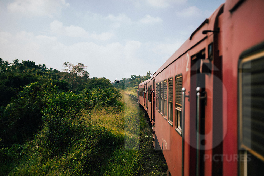 The train from Jaffna to Colombo passing through northern Sri Lanka, Asia