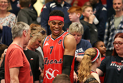 Justin Gray of Bristol Flyers thanks the supporters at the end of the match - Photo mandatory by-line: Arron Gent/JMP - 28/04/2019 - BASKETBALL - Surrey Sports Park - Guildford, England - Surrey Scorchers v Bristol Flyers - British Basketball League Championship