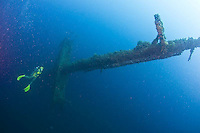 Guam diving the WWII Japanese shipwreck Tokai Maru which lies on the WWI German shipwreck SMS Cormoran. The ships are a national historical site and also artificial reefs.