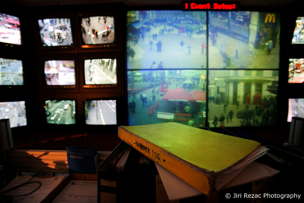 UK ENGLAND LONDON 31MAR09 - The Westminster Community Safety CCTV centre underneath the Trocadero at Piccadilly Circus in central London... It's 48 monitors display high resolution video footage of CCTV and wireless surveillance cameras covering popular and strategic spots across the West End of central London...This state of the art surveillance system operated by the City of Westminster is linked with CCTV centres operated by the Metropolitan Police and City Police, resulting in a total of more than 3000 digital cameras surveillancing central London. Its main purpose is to provide a deterrent to crime and anti-social behaviour as well as aid in crowd control and emergency planning...jre/Photo by Jiri Rezac....© Jiri Rezac 2009