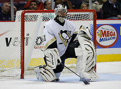 Mar 14, 2007; East Rutherford, NJ, USA;  Pittsburgh Penguins goalie Jocelyn Thibault (41) takes a break during the third period at Continental Airlines Arena in East Rutherford, NJ.  Thibault logged a 3-0 shutout win. Mandatory Credit: Ed Mulholland-US PRESSWIRE Copyright © 2007 Ed Mulholland