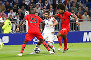 Fekir Nabil of Lyon and Costa Santos Dante of Nice and Sarr Malang of Nice during the French championship L1 football match between Olympique Lyonnais and Amiens on August 12th, 2018 at Groupama stadium in Decines Charpieu near Lyon, France - Photo Romain Biard / Isports / ProSportsImages / DPPI