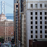 View down Columbus Avenue toward Oakland Bay Bridge, San Francisco, CA.