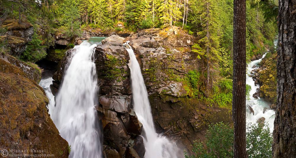 Panorama of the North Fork of the Nooksack River at Nooksack Falls.  Wells Creek flows into the Nooksack at the right.