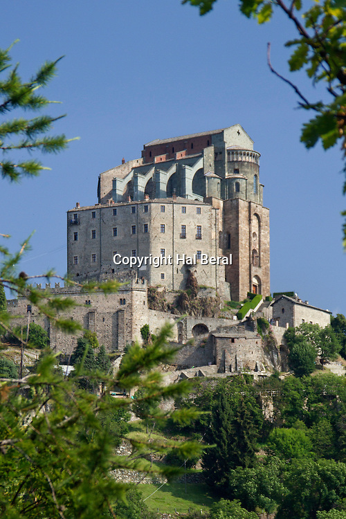 Sacra di San Michele built in the 12th century as an abbey is considered a masterpiece is medieval engineering<br /> Near Turin, Italy