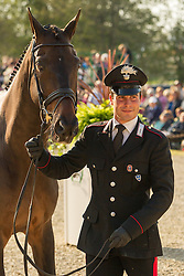 Mattia Luciani (ITA) leads Parko 4 for the vet's inspection during the trot up at the 2013 Mitsubishi Motors Badminton Horse Trials. Thursday 02  May  2013.  Badminton, Gloucs, UK..Photo by: Mark Chappell / i-Images