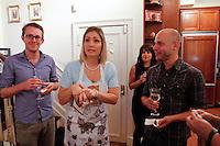 "Laura Hooper in character for ""Crumble"" as her character Sylvie Cranshaw on Friday June 8, 2012 on the UWS. ..In this shot Matt Rodan (glasses) and Nelson Garcia...Photo Credit; Rahav Iggy Segev / Photopass.com"