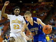 Aubrie King (10) of Mumford drives past Gary Breaux (23) of Dallas Triple A Academy during the UIL 1A division 1 state championship game at the Frank Erwin Center in Austin on Friday, March 8, 2013. (Cooper Neill/The Dallas Morning News)