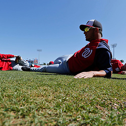 Mar 6, 2013; Clearwater, FL, USA; Washington Nationals third baseman Carlos Rivero (19) stretches before a spring training game against the Philadelphia Phillies at Bright House Field. Mandatory Credit: Derick E. Hingle-USA TODAY Sports