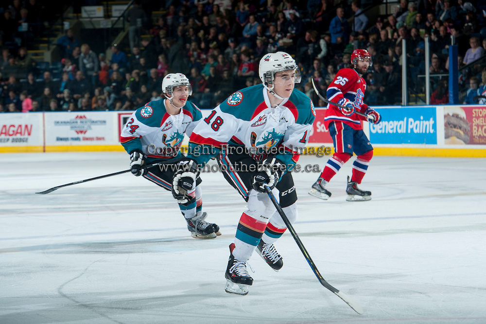 KELOWNA, CANADA - MARCH 7: Tate Coughlin #18 of the Kelowna Rockets skates against the Spokane Chiefs  on March 7, 2015 at Prospera Place in Kelowna, British Columbia, Canada.  (Photo by Marissa Baecker/Shoot the Breeze)  *** Local Caption *** Tate Coughlin;