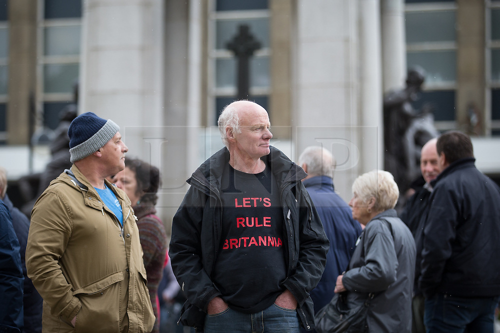 """© Licensed to London News Pictures . 25/05/2016 . Bolton , UK . Man wearing """" Let's Rule Britannia """" t-shirt . The UKIP referendum bus tour , campaigning for a UK Brexit , lead by Nigel Farage , in Victoria Square , Bolton . Photo credit : Joel Goodman/LNP"""