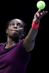 October 26, 2018 - Singapore, Singapore - SLOANE STEPHENS of the United States serves during her match against Angelique Kerber of Germany on day 6 of the WTA Finals at the Singapore Indoor Stadium. Stephens won 6:3, 6:3.  (Credit Image: © Paul Miller/ZUMA Wire)