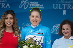 Winner of the most combatative rider's jersey, Shara Gillow (AUS) of Rabo-Liv Cycling Team stands on the podium after the fourth, 70 km road race stage of the Amgen Tour of California - a stage race in California, United States on May 22, 2016 in Sacramento, CA.