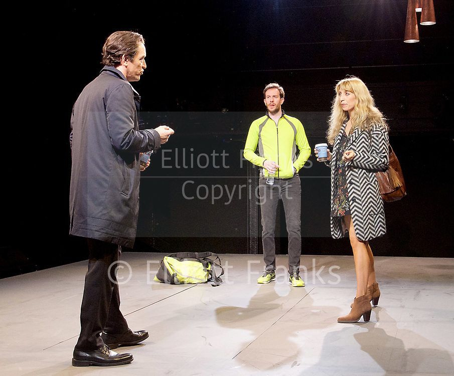 Consent <br /> by Nina Raine<br /> at the <br /> Dorfman Theatre, National Theatre, Southbank, London, Great Britain <br /> press photocall <br /> 3rd April 2017 <br /> Directed by Roger Michell<br /> Set Designed by Hildegard Bechtler<br /> Costumes Designed by Dinah Colin<br /> <br /> <br /> Ben Chaplin as Edward<br /> <br /> Pip Carter as Matt<br /> <br /> Daisy Haggard as Zara<br /> <br /> <br />  <br /> Press night: Tuesday 4 April<br />  <br /> <br /> <br /> Photograph by Elliott Franks <br /> Image licensed to Elliott Franks Photography Services