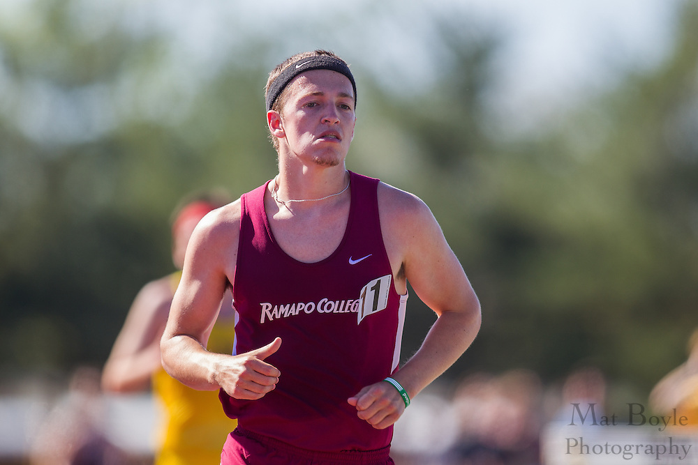 Ramapo College's Brendan Conway competes in the men's 10000 meter at the NJAC Track and Field Championships at Richard Wacker Stadium on the campus of  Rowan University  in Glassboro, NJ on Saturday May 4, 2013. (photo / Mat Boyle)