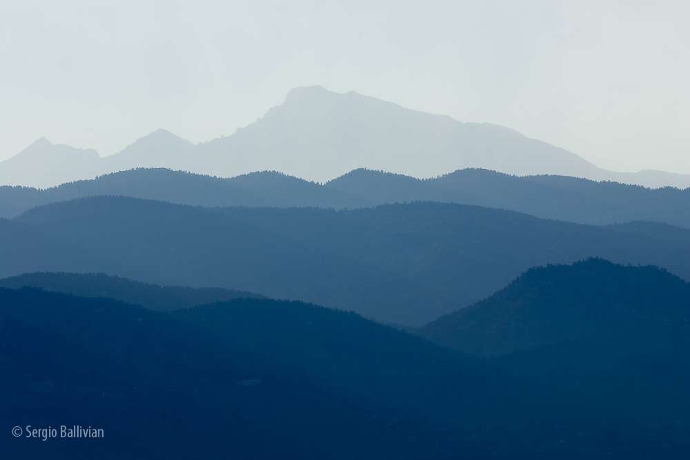Layered mountains and Long's Peak in Rocky Mountain National Park near Boulder, Colorado