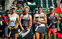 March 16, 2019 - Indian Wells, USA - Barbora Krejcikova & Katerina Siniakova of the Czech Republic and Aryna Sabalenka of Belarus & Elise Mertens of Belgium pose for a photo ahead of the doubles final of the 2019 BNP Paribas Open WTA Premier Mandatory tennis tournament (Credit Image: © AFP7 via ZUMA Wire)
