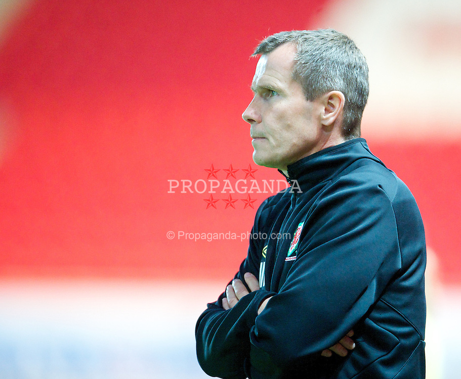 LLANELLI, WALES - Saturday, September 15, 2012: Wales' manager Jarmo Matikainen looks dejected after losing 2-1 to Scotland during the UEFA Women's Euro 2013 Qualifying Group 4 match at Parc y Scarlets. (Pic by David Rawcliffe/Propaganda)
