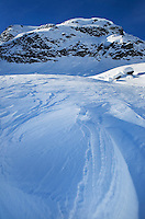 Wind blown snow patterns (sastrugi), Upper Marriott Basin in winter, Coast Mountains British Columbia
