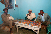 LALIBELA, WELO/ETHIOPIA..Men drinking Tej (alcohol) in a coffee shop at the village of Lalibela..(Photo by Heimo Aga)