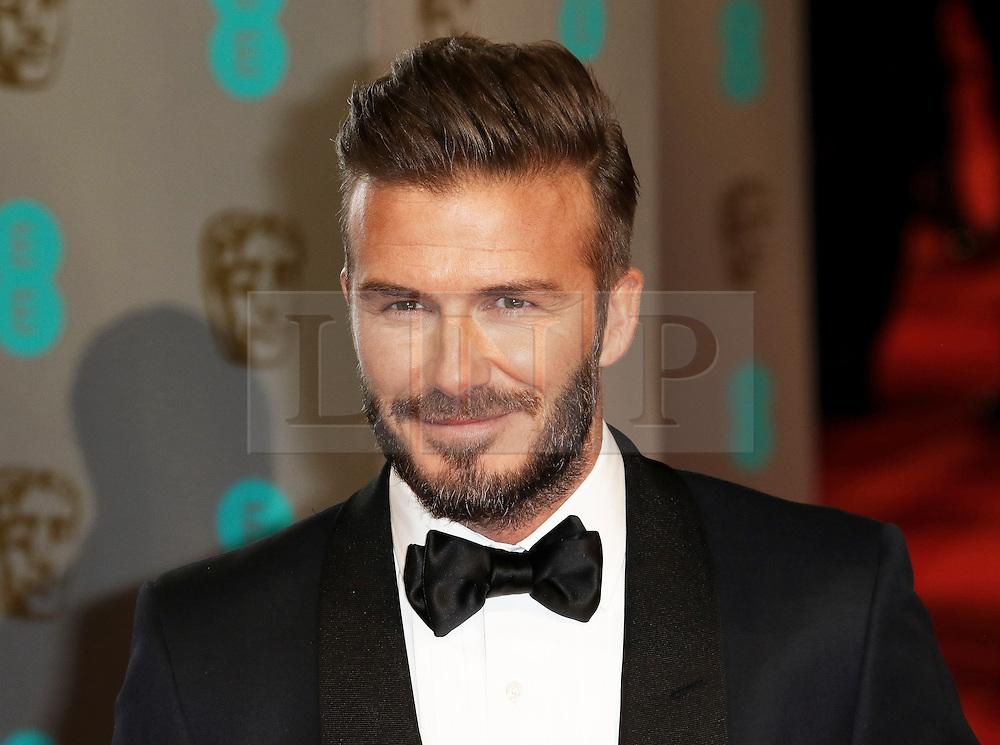 © London News Pictures. David Beckham, EE British Academy Film Awards (BAFTAs), Royal Opera House Covent Garden, London UK, 08 February 2015, Photo by Richard Goldschmidt /LNP
