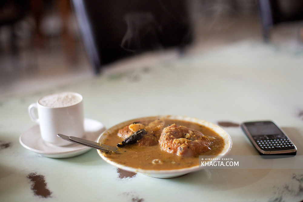 A cup of filter coffee and a plate of Vada- Sambhar at the Indian Coffee House of Shimla
