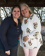 Ashley Richmond (left) and her mother Cherie Richmond at the rehearsal for the wedding of Ashley's younger sister Katie to Ty Livingston on January 20, 2018 in Jupiter, FL.