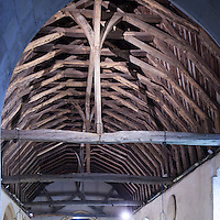 The roof medieval crown post roof of St. Peter's Church Swingfield Kent cared for by The Churches Conservation Trust