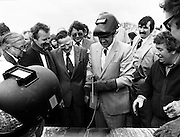 Albert Reynolds TD, Minister for Industry and Energy, performs the ceremonial first weld at Brownbarn, Kingswood, Dublin, officially starting work on the new Cork–Dublin gas pipeline.<br /> 28 April 1982