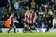 Goal celebration by Billy Sharp of Sheffield United during the EFL Sky Bet Championship match between Leeds United and Sheffield Utd at Elland Road, Leeds, England on 27 October 2017. Photo by Paul Thompson.