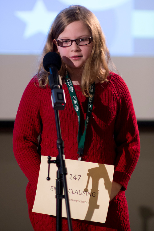 Emily Clausing of Clay Elementary School introduces herself during the Southeastern Ohio Regional Spelling Bee Regional Saturday, March 16, 2013. The Regional Spelling Bee was sponsored by Ohio University's Scripps College of Communication and held in Margaret M. Walter Hall on OU's main campus.