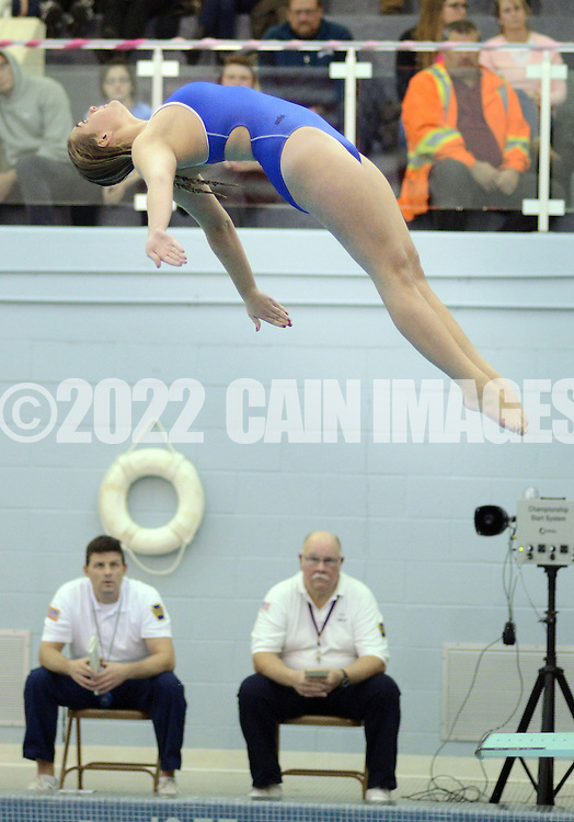 WARMINSTER, PA - DECEMBER 16: Central Bucks South's Maddie Kiefer dives during a swim meet at William Tennent December 16, 2014 in Warminster, Pennsylvania. Central Bucks South faced William Tennent in the boy and girl swim meet. (Photo by William Thomas Cain/Cain Images)