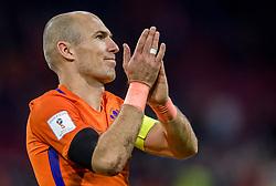 10-10-2017 NED: WK kwalificatie Nederland - Zweden, Amsterdam<br /> Oranje heeft Zweden met 2-0 verslagen. Het moest met zeven doelpunten verschil halen om nog kans te maken op plaatsing voor het WK. / Arjen Robben of Holland