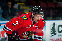 KELOWNA, CANADA - JANUARY 21: Caleb Jones #3 of the Portland Winterhawks stands on the ice against the Kelowna Rockets on January 21, 2017 at Prospera Place in Kelowna, British Columbia, Canada.  (Photo by Marissa Baecker/Getty Images)  *** Local Caption *** Caleb Jones;