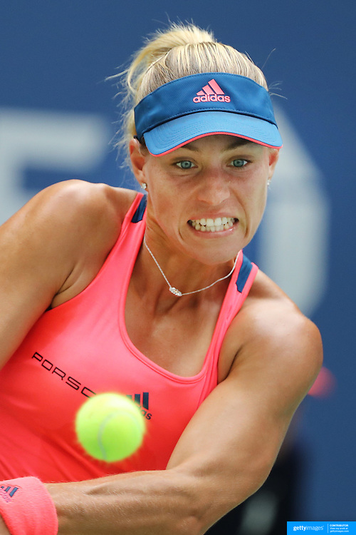 2016 U.S. Open - Day 9  Angelique Kerber of Germany in action against Roberta Vinci of Italy in the Women's Quarterfinal match on Arthur Ashe Stadium on day nine of the 2016 US Open Tennis Tournament at the USTA Billie Jean King National Tennis Center on September 6, 2016 in Flushing, Queens, New York City.  (Photo by Tim Clayton/Corbis via Getty Images)