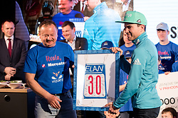 Jernej Damjan with gift from Vizorje klub at press conference of Slovenian Nordic Ski team after seasn 2017-18 with main sponsor Mercator, on March 28, 2018 in Maximarket, Ljubljana, Slovenia. Photo by Matic Klansek Velej / Sportida