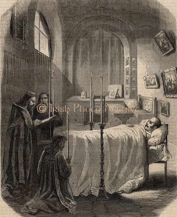 Nicholas I (1796-1855) Emperor (Tsar) of Russia from 1825; Nicholas on his deathbed, priests saying prayers over his body.  His ambition was to absorb Turkey into the Russian empire, an ambition opposed by Britain and France and which resulted in the Crimean (Russo-Turkish) War of 1853-1856.   From 'The Illustrated London News' (London, 1855). Engraving.
