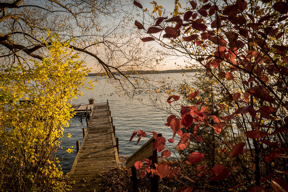 This autumn pier photo was taken in Wisconsin's &quot;Lake Country&quot;.  Wisconsin's <br />