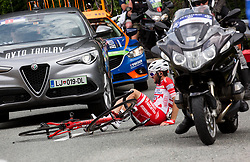 Injured Andrea Vendrame (ITA) of Androni-Sidermec-Bottecchia during Stage 2 of 24th Tour of Slovenia 2017 / Tour de Slovenie from Ljubljana to Ljubljana (169,9 km) cycling race on June 16, 2017 in Slovenia. Photo by Vid Ponikvar / Sportida