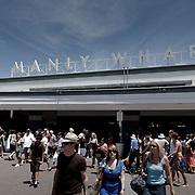 Manly Wharf, ferry terminal, Manly Beach during Australia Day. Manly Beach
