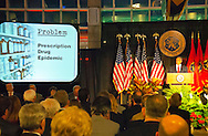 Nassau County Executive Edward Mangano gives State of the County Address, on Wednesday night, March 14, 2012, at Cradle of Aviation museum, Garden City, New York, USA. One of the problems he addressed was the Prescription Drug Epidemic, related to death of John Capano, the ATF agent (Alcohol Tobacco & Firearms) fatally shot while trying to stop a pharmacy robbery Dec. 31, 2011.