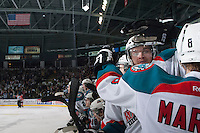 KELOWNA, CANADA - APRIL 25: Mitchell Wheaton #6 of the Kelowna Rockets reacts to a goal against the Portland Winterhawks on April 25, 2014 during Game 5 of the third round of WHL Playoffs at Prospera Place in Kelowna, British Columbia, Canada. The Portland Winterhawks won 7 - 3 and took the Western Conference Championship for the fourth year in a row earning them a place in the WHL final.  (Photo by Marissa Baecker/Getty Images)  *** Local Caption *** Mitchell Wheaton; Mitch Wheaton;