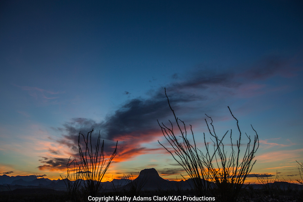 Silhouette of mountains at sunrise in Big Bend National Park, Texas.