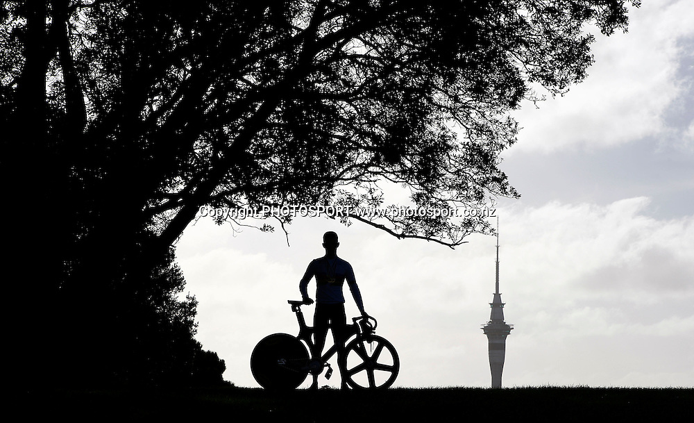 Cyclist Sam Webster during a photoshoot after winning 3 gold medals at the UCI Junior World Cycling Championships in Moscow. 26 August 2009. Photo: William Booth/PHOTOSPORT