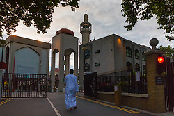 London, June 25th 2017. Dawn breaks over the London Central Mosque in Regent's Park as Muslims celebrate Eid ul-Fitr Day.