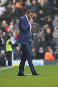 Fulham head coach, Slavisa Jokanovic alone looking unhappy during the Sky Bet Championship match between Fulham and Bristol City at Craven Cottage, London, England on 12 March 2016. Photo by Matthew Redman.