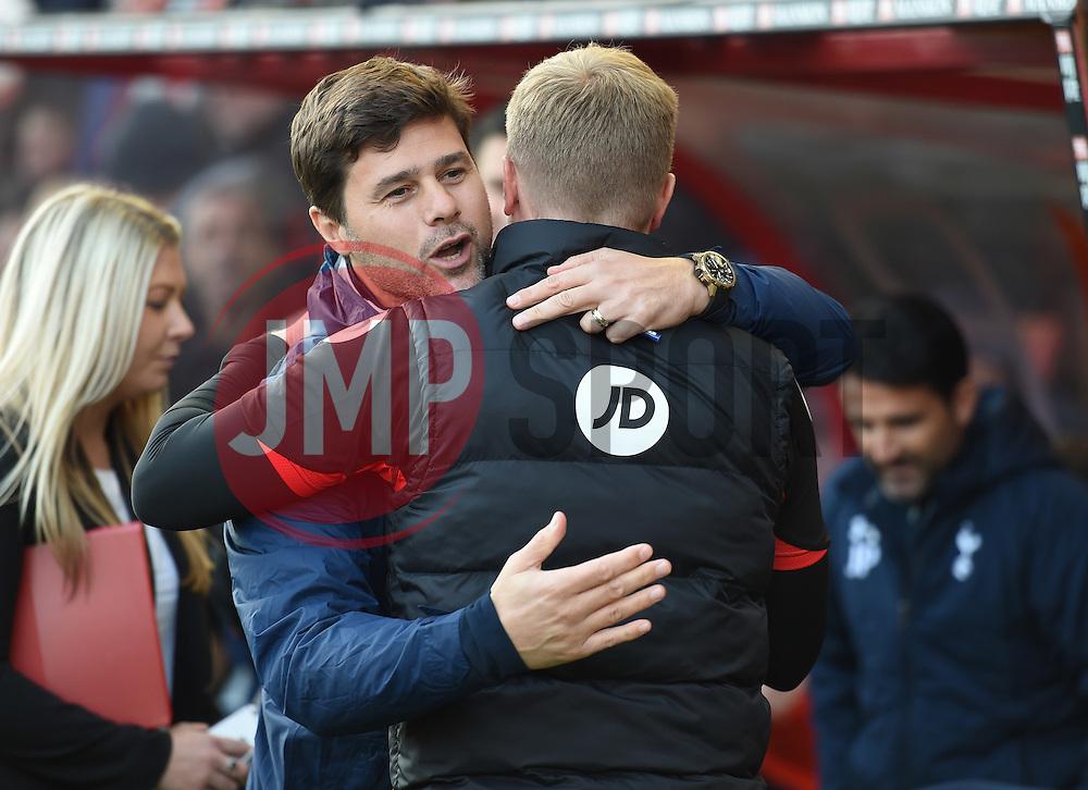 Tottenham Hotspur manager Mauricio Pochettino embraces Bournemouth manager Eddie Howe - Mandatory by-line: Alex James/JMP - 22/10/2016 - FOOTBALL - Vitality Stadium - Bournemouth, England - AFC Bournemouth v Tottenham Hotspur - Premier League