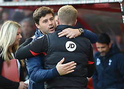 Tottenham Hotspur manager Mauricio Pochettino embraces Bournemouth manager Eddie Howe - Mandatory by-line: Alex James/JMP - 22/10/2016 - FOOTBALL - Vitality Stadium - Bournemouth, England - AFC Bournemouth v Tottenham Hotspur - Premier League